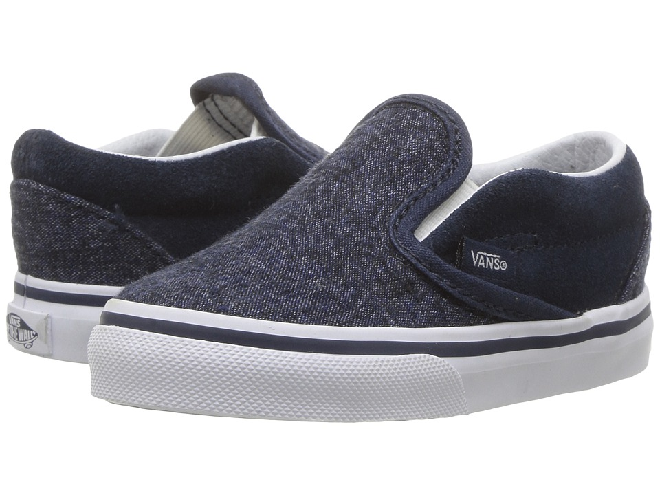 Vans Kids Classic Slip-On (Toddler) ((Suede & Suiting) Dress Blues) Boys Shoes