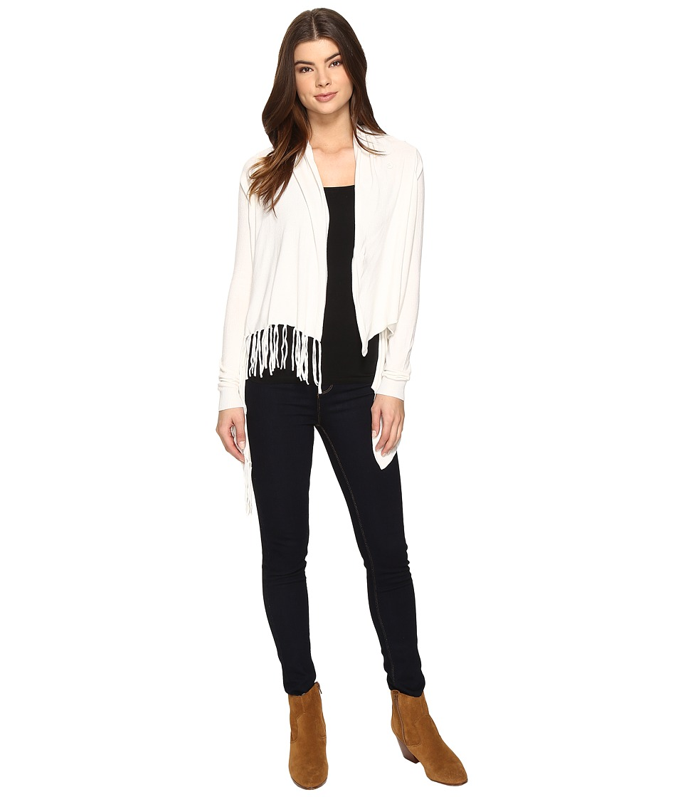 Christin Michaels - Evelyn Fringed Wrap Cardigan (Ivory) Women's Sweater