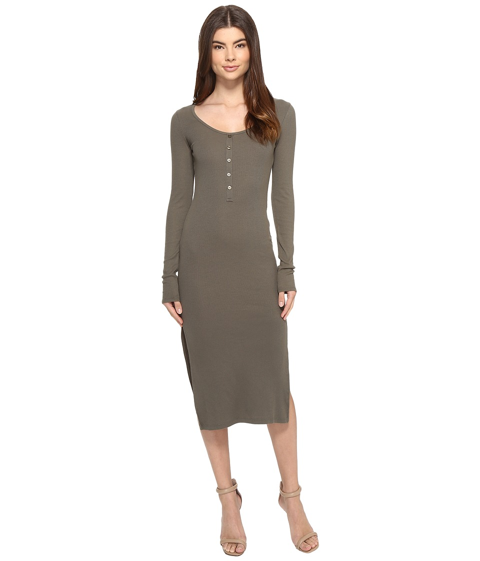 Culture Phit - Long Sleeve Ribbed Button Up Midi Dress (Olive) Women's Dress