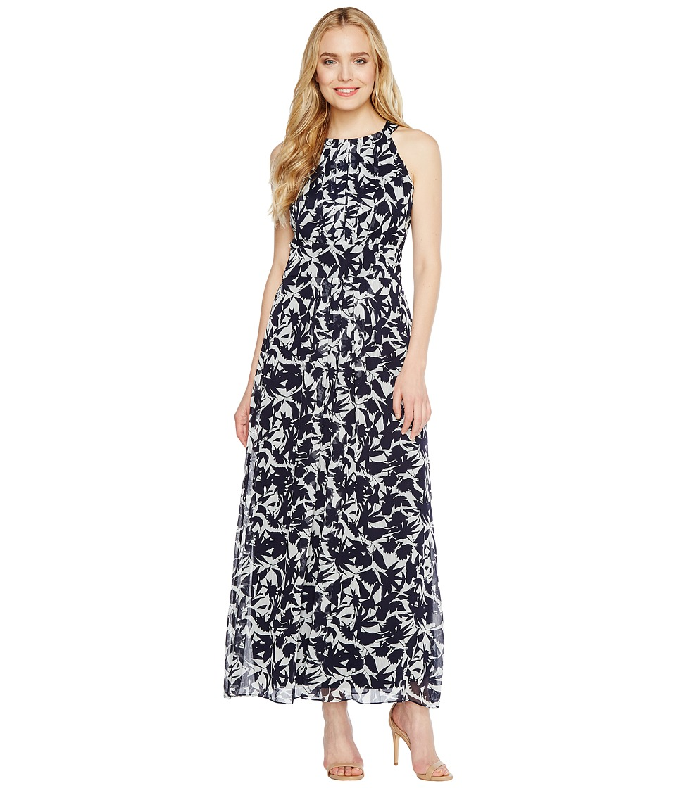 Christin Michaels - Brooke Printed Midi Dress (White/Navy) Women's Dress