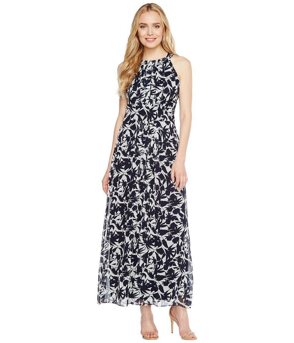 Christin Michaels - Brooke Printed Midi Dress (White/Navy) Women's Dress