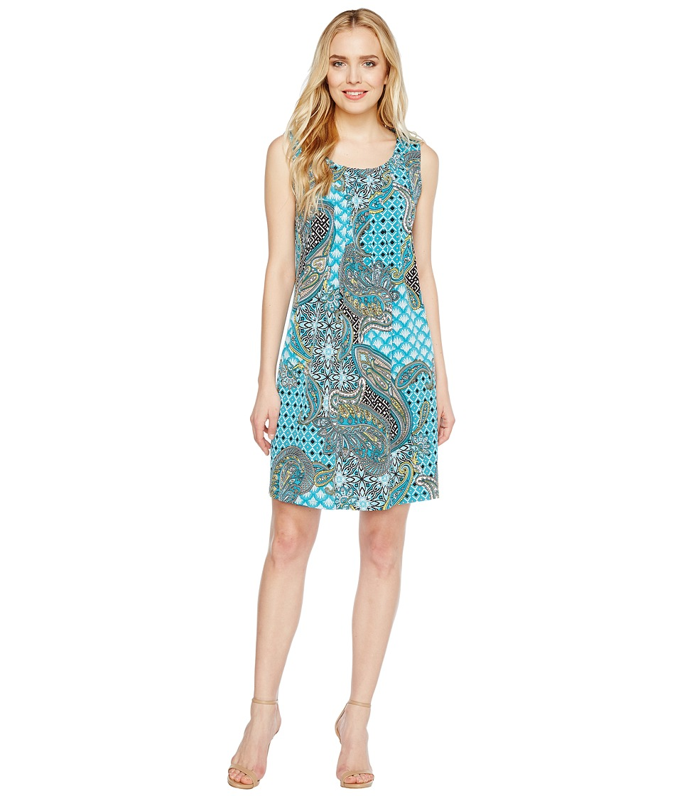 Christin Michaels - Kelly Sleeveless Printed Shift Dress (Teal) Women's Dress