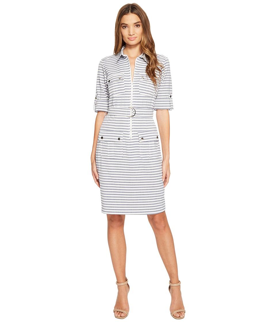 Christin Michaels - Stare Stripe Shirtdress (Navy/Ivory) Women's Dress