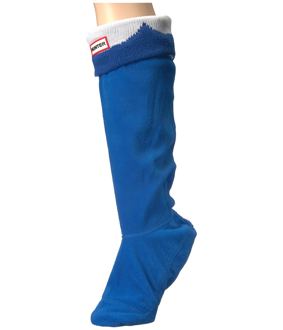 Hunter - Moustache Boot Sock (Bright Cobalt/Optic White) Women's Crew Cut Socks Shoes