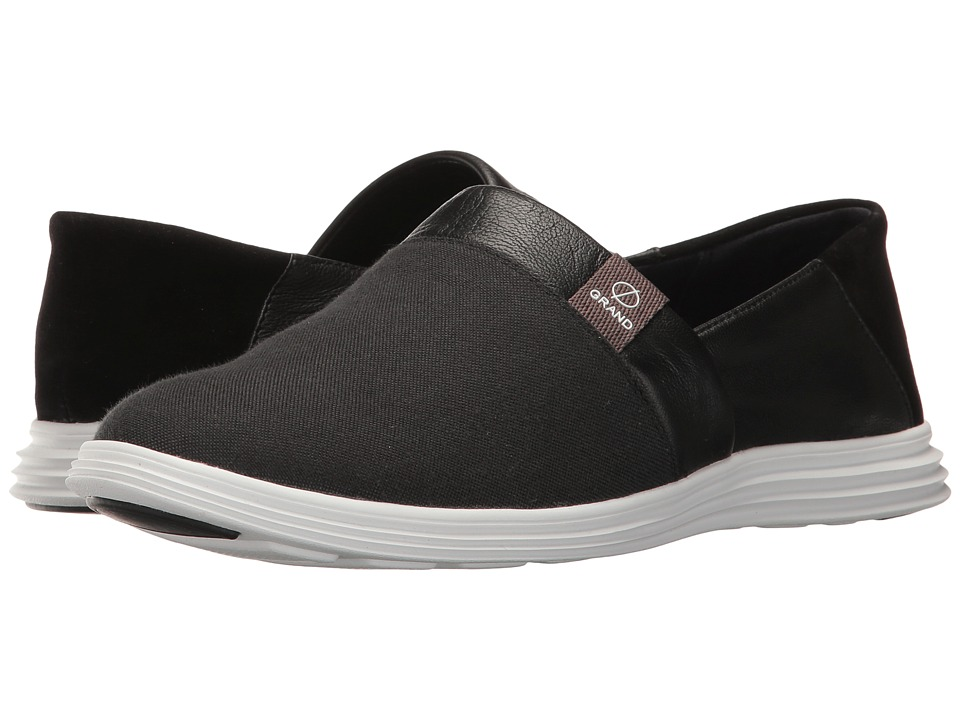 Cole Haan Ella Grand Slip-On (Black Canvas/Leather/Suede/Optic White) Women