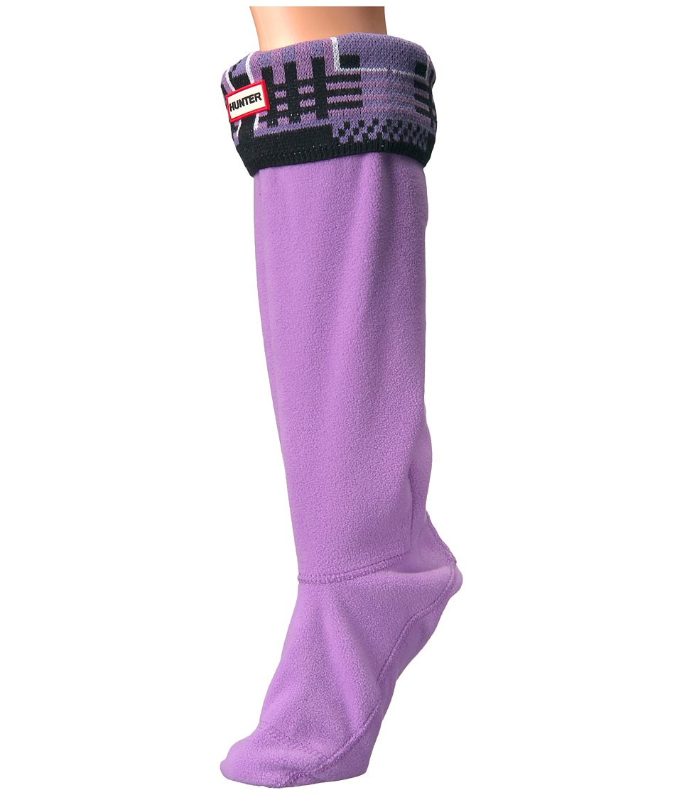 Hunter - Original Tall Boot Sock Garter Cuff (Tartan Bright Lavender/Dark Lavender) Women's Crew Cut Socks Shoes