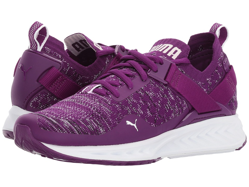 PUMA - Ignite evoKNIT Lo (Dark Purple/Puma White/Puma Black) Women's Running Shoes