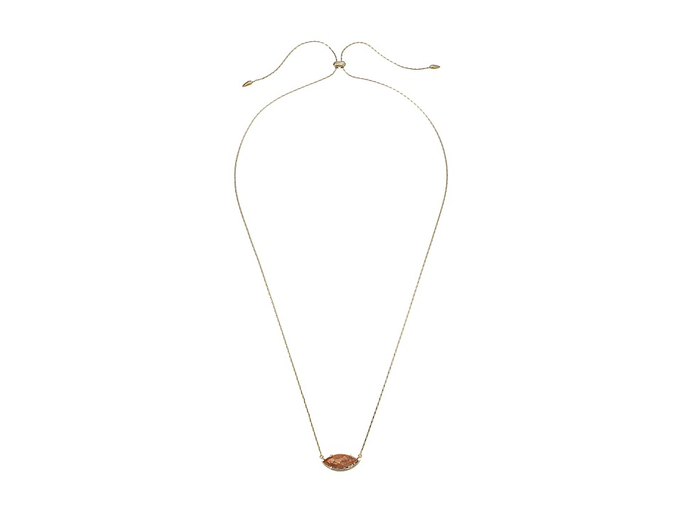 Kendra Scott - Meghan Necklace (Gold/Crackle Brown Mother Of Pearl/White CZ) Necklace