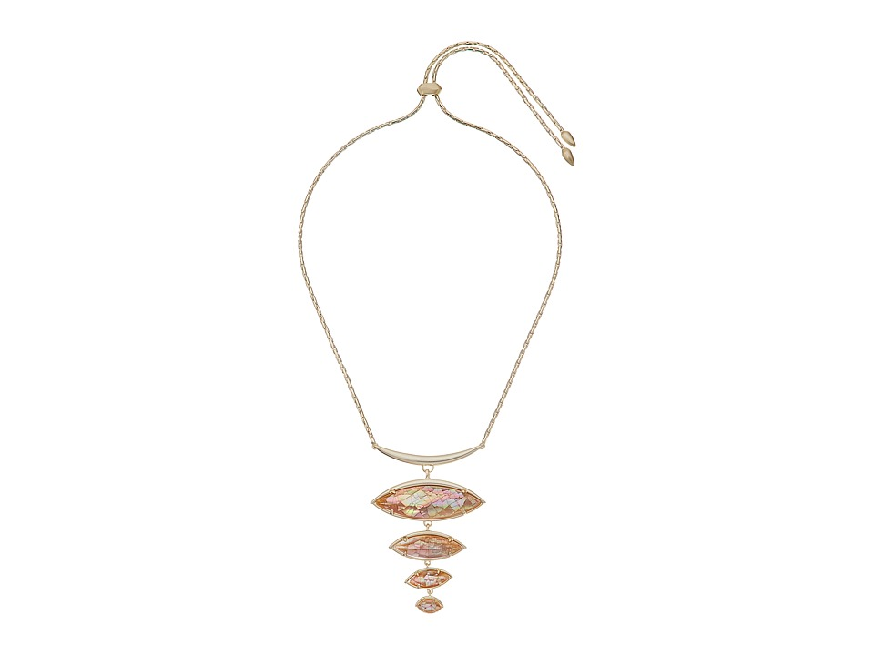 Kendra Scott - Morris Necklace (Gold/Crackle Brown Mother Of Pearl/White CZ) Necklace