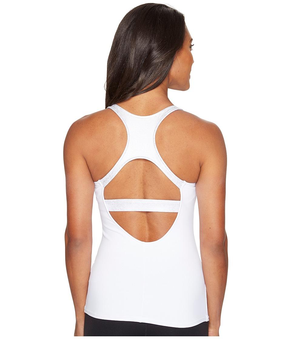 ALO - Venture Bra Tank Top (White/Slate Metallic) Women's Sleeveless