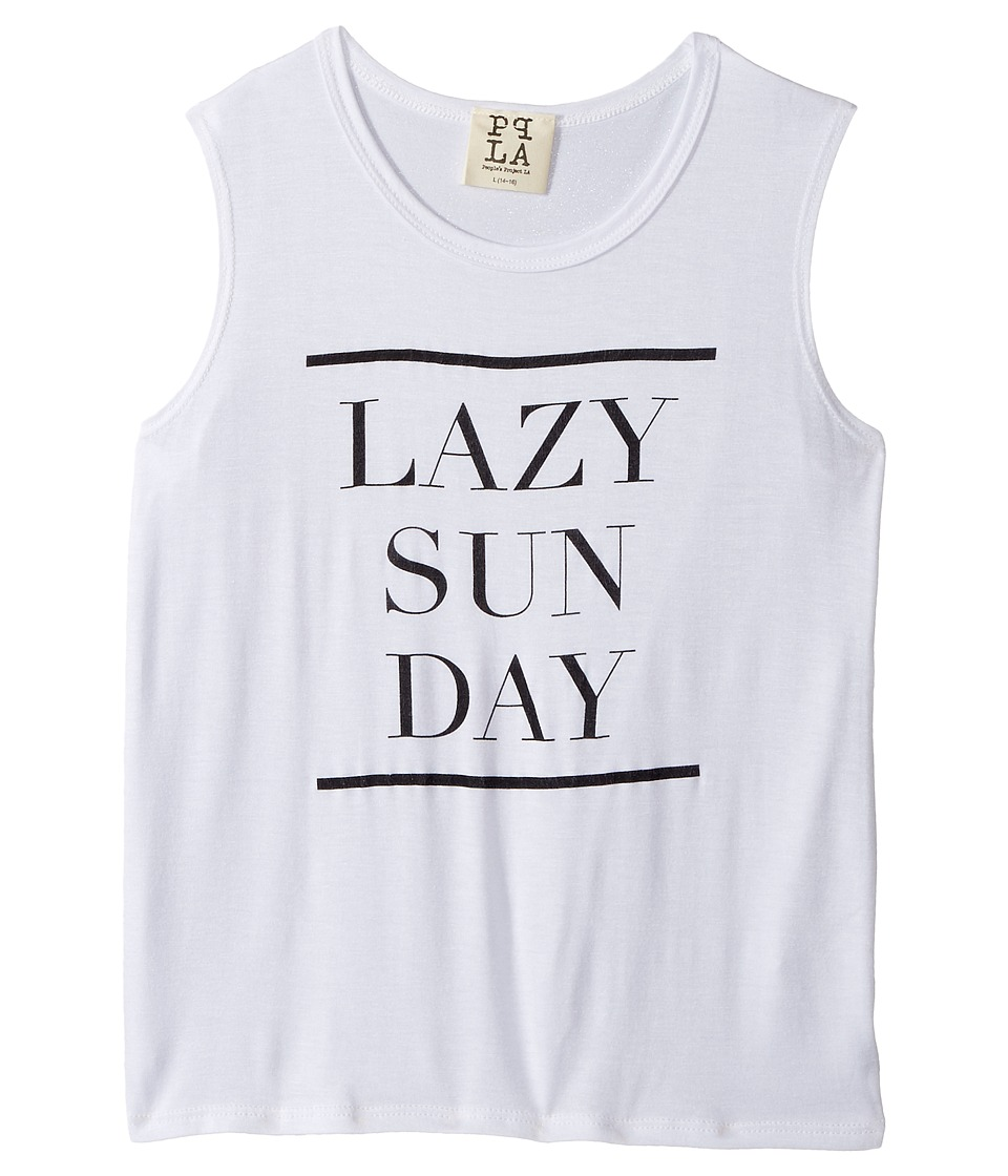 People's Project LA Kids - Sunday Lazy Day Tee (Big Kids) (White) Girl's T Shirt
