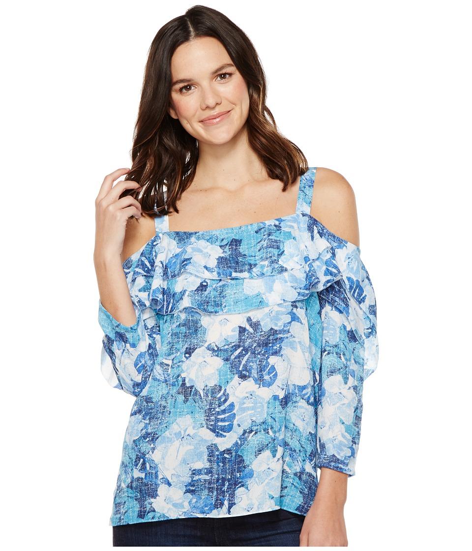 NYDJ - Cold Shoulder Blouse (Cote D Azur Tropics Matisse Blue) Women's Blouse