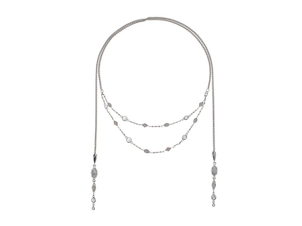 Kendra Scott - Emelina Lariat Necklace (Rhodium/Howlite Zellige/White CZ) Necklace