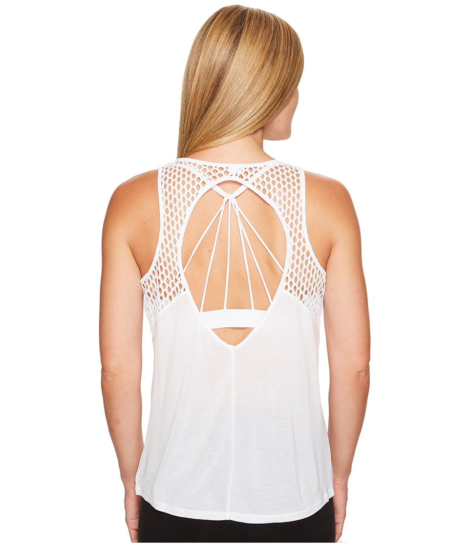 ALO - Cage Tank Top (White) Women's Sleeveless