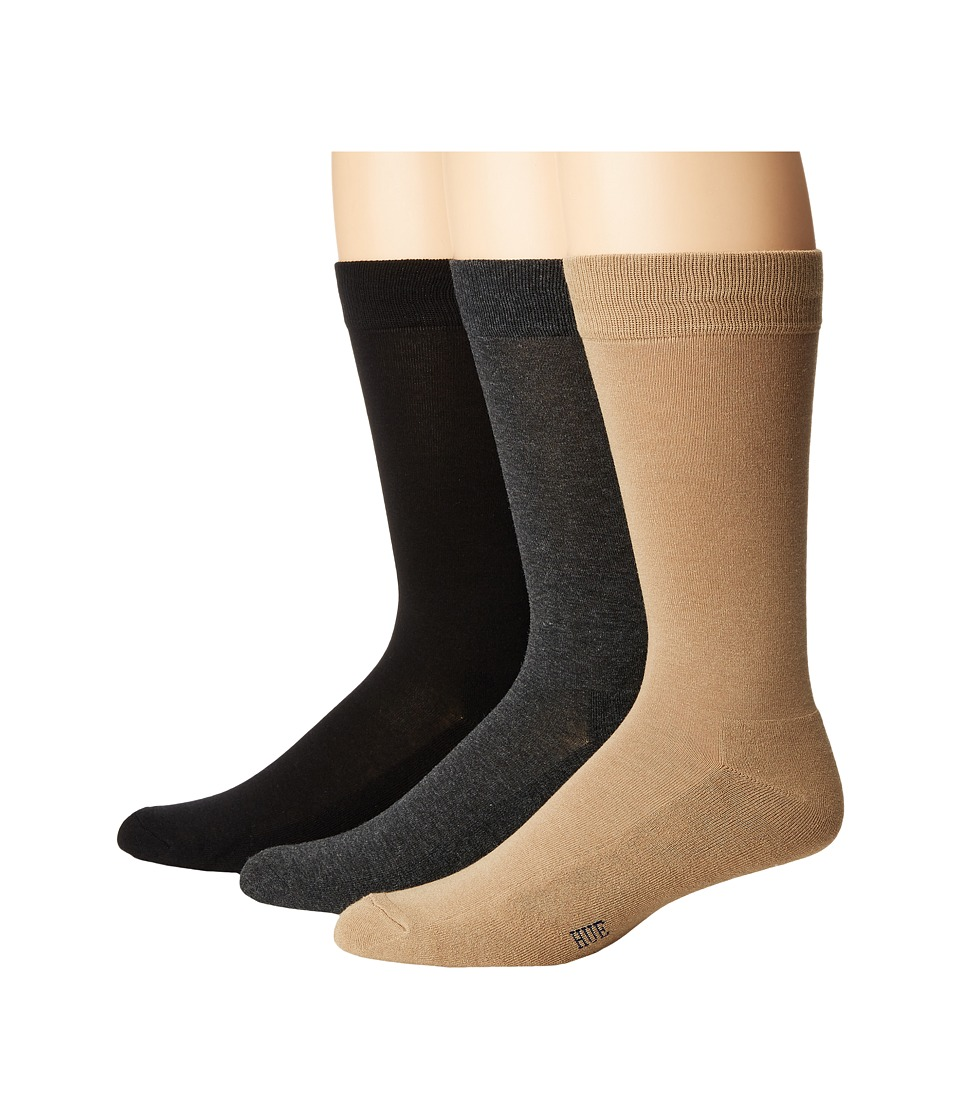 HUE - Solid Sock with Half Cushion 3-Pack (Black/Grey Pack) Men's Crew Cut Socks Shoes