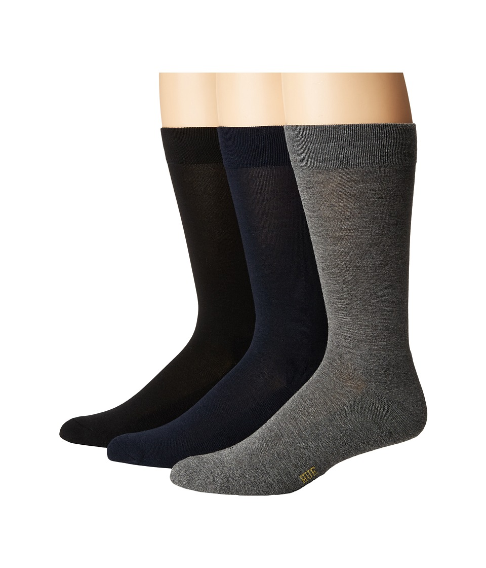 HUE - Solid Sock with Half Cushion 3-Pack (Navy Pack) Men's Crew Cut Socks Shoes