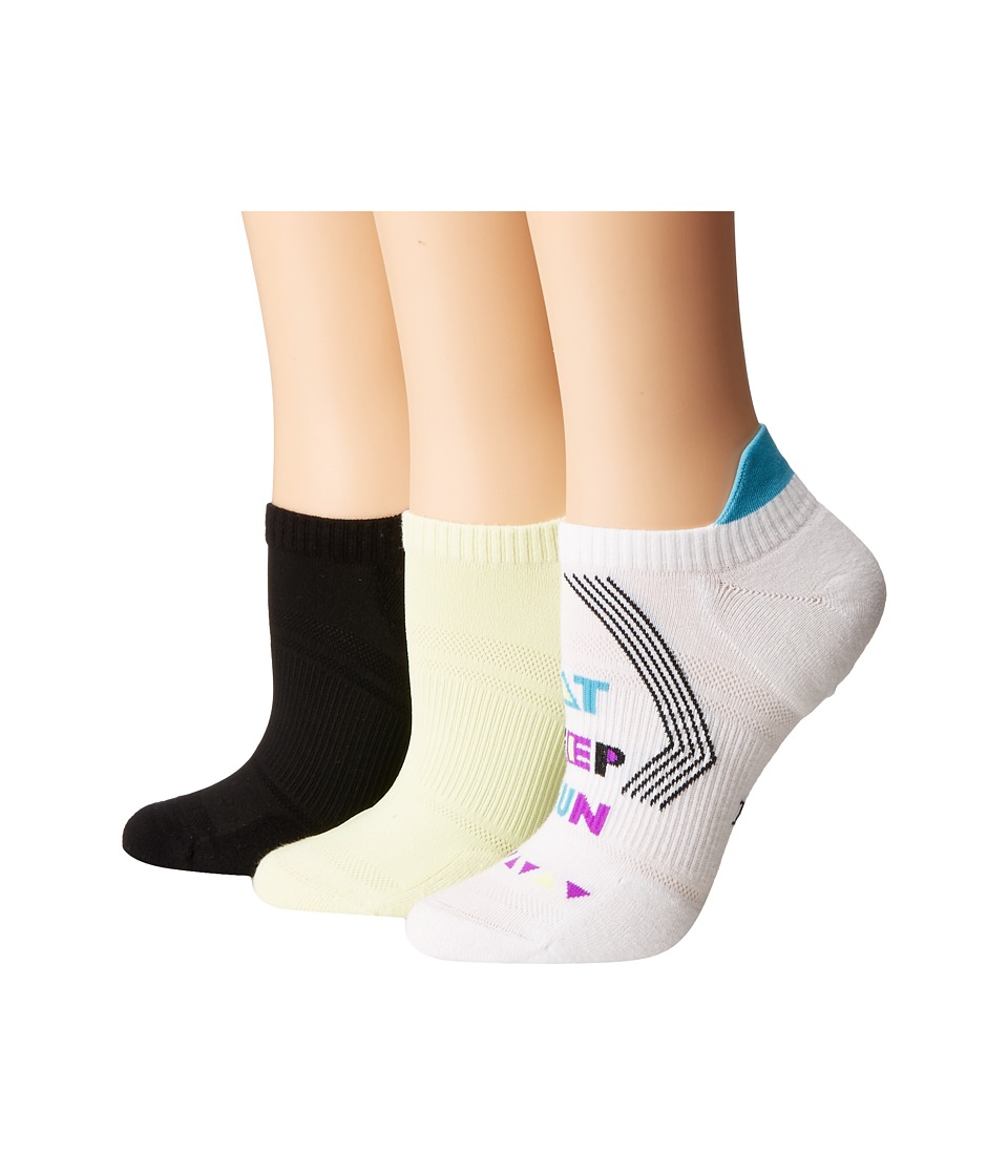 HUE - Air Sleek Tab Back Liner with Cushion 3-Pack (Words Pack) Women's Crew Cut Socks Shoes