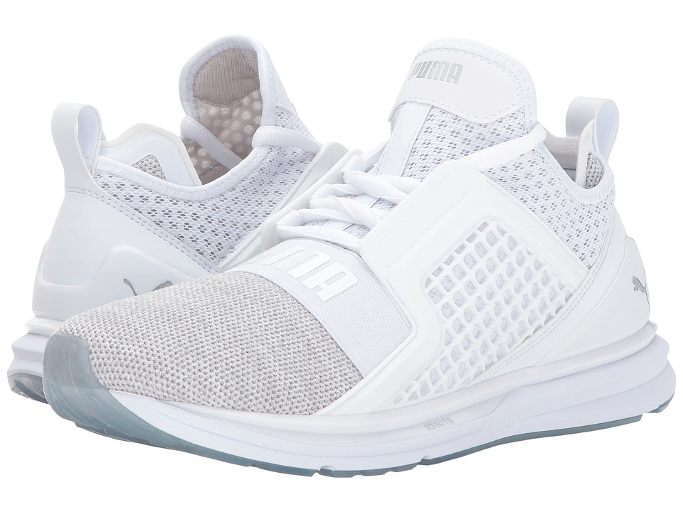 PUMA - Ignite Limitless Knit (Puma White/Puma Silver) Men's Shoes