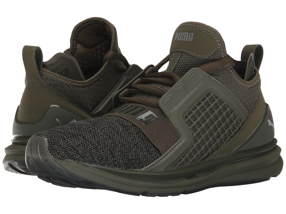 PUMA - Ignite Limitless Knit (Olive Night/Puma Black) Men's Shoes