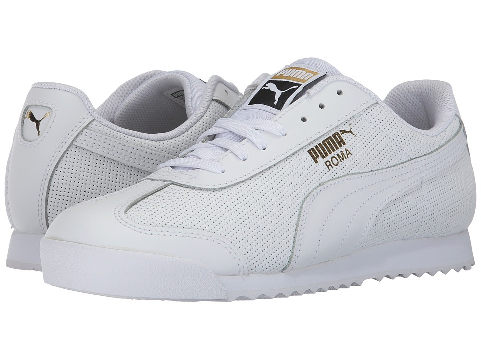 PUMA - Roma Classic Perf (Puma White/Puma Team Gold/Puma White) Men's Shoes