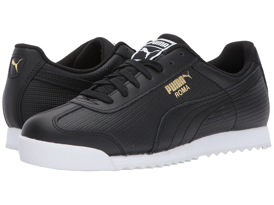 PUMA - Roma Classic Perf (Puma Black/Puma Black/Puma White/Puma Team Gold) Men's Shoes