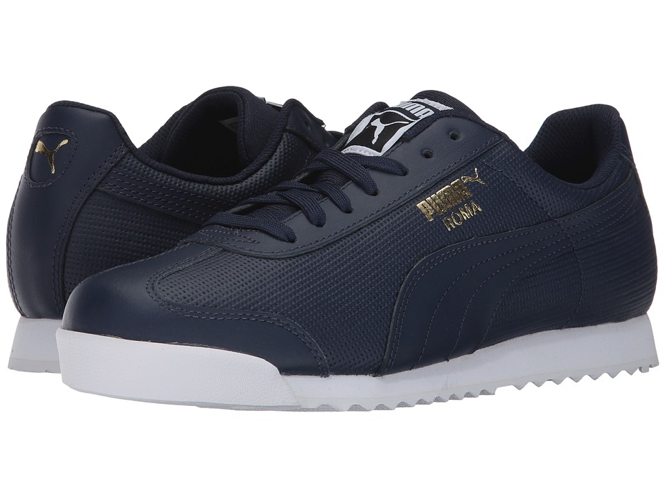 PUMA - Roma Classic Perf (Peacoat/Puma White/Puma Team Gold) Men's Shoes
