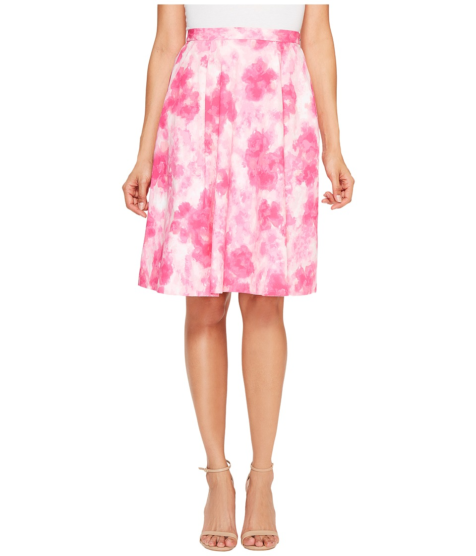 Ellen Tracy - Pleated Skirt (Floral Pink Tulip) Women's Skirt