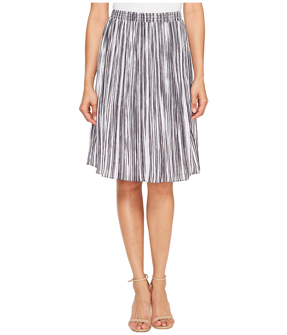 Ellen Tracy - Smocked Waist Pleated Skirt (Painted Lines Combo) Women's Skirt