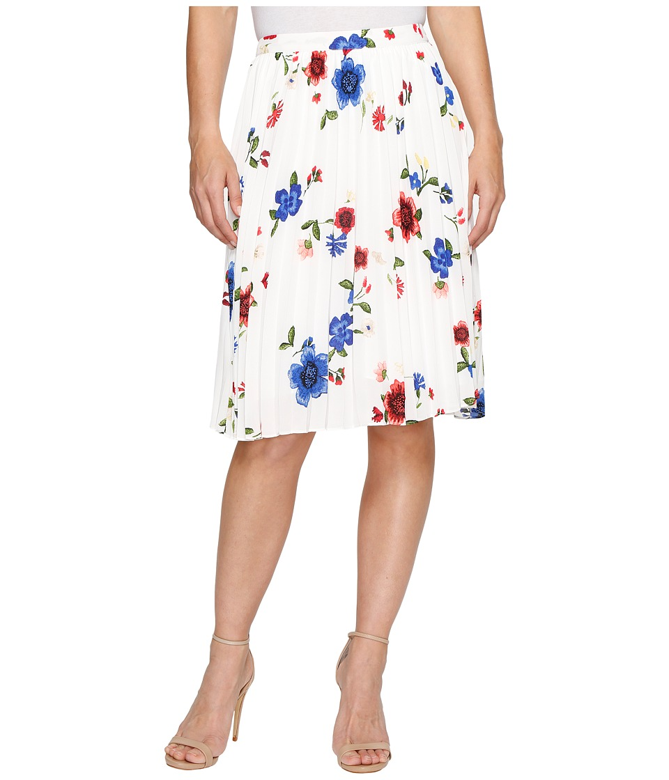 Ellen Tracy Sunburst Pleat Skirt (Blooms Multi) Women