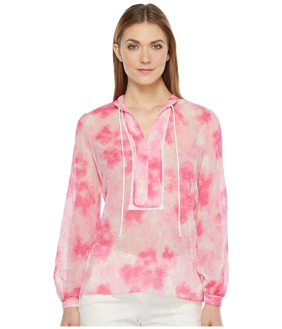 Ellen Tracy - Placket Detail Blouse (Floral Pink Tulip) Women's Blouse