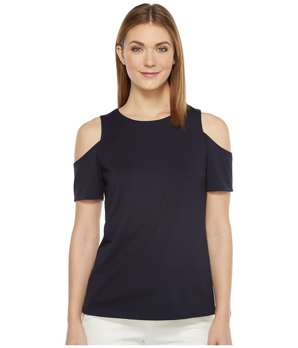 Ellen Tracy - Open Shoulder Top (Ink Blue) Women's Clothing
