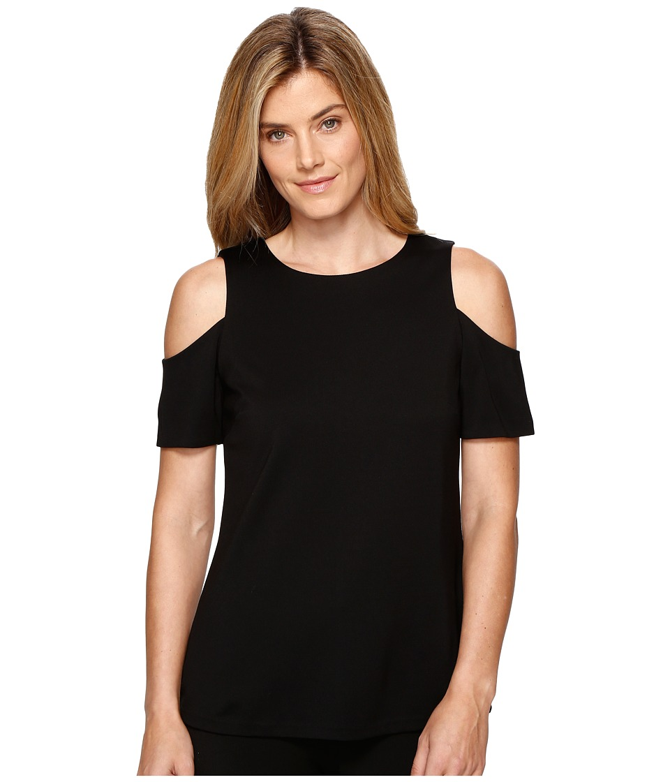 Ellen Tracy - Open Shoulder Top (Black) Women's Clothing