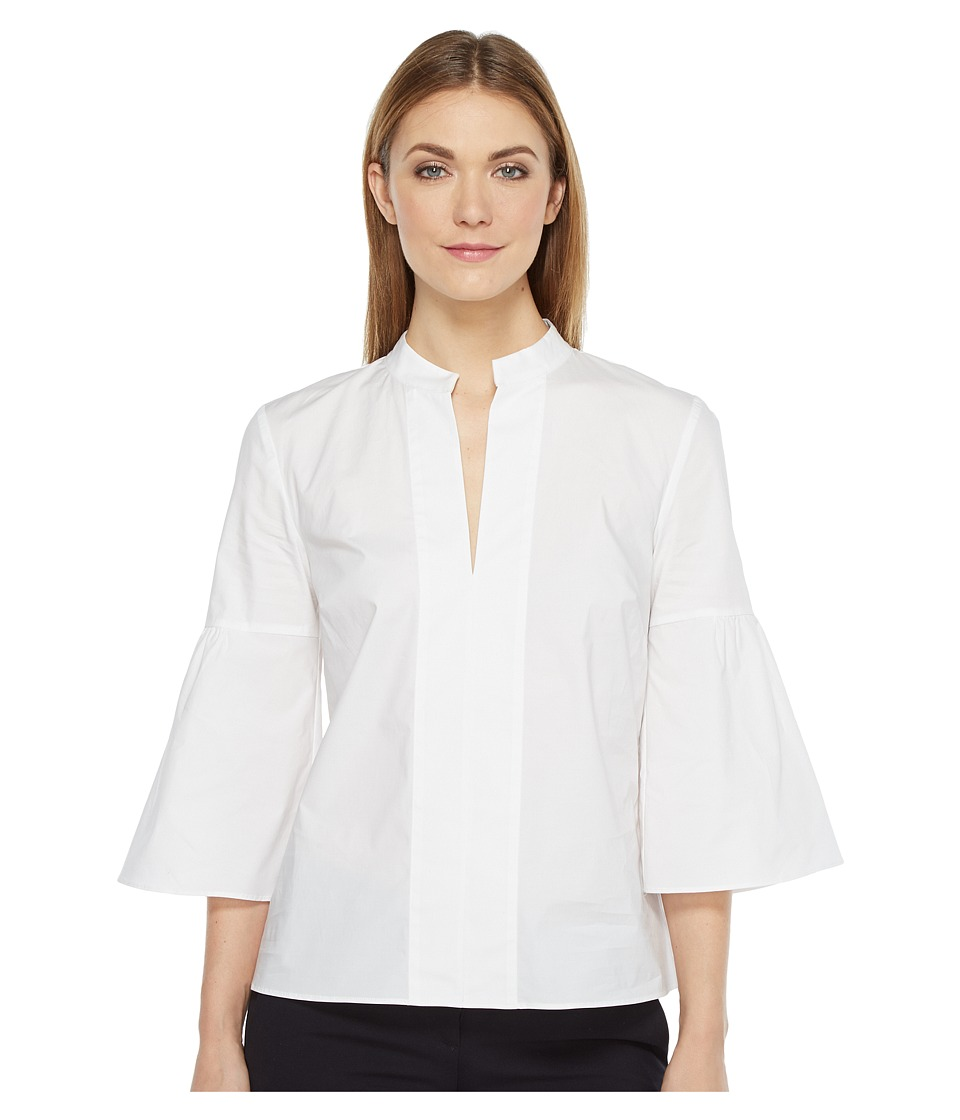Ellen Tracy - Collarless Lantern Sleeve Shirt (White) Women's Clothing
