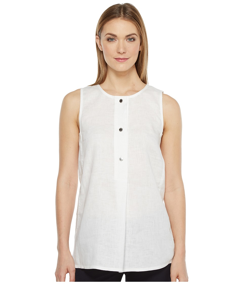 Ellen Tracy - Button Tunic (White) Women's Clothing