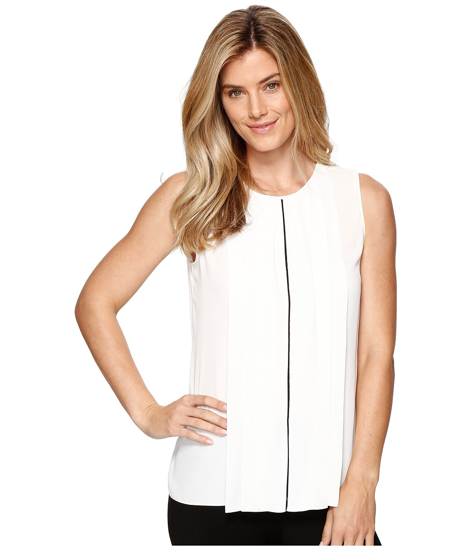 Ellen Tracy - Contrast Piped Pleat Front Shell (Cream) Women's Clothing