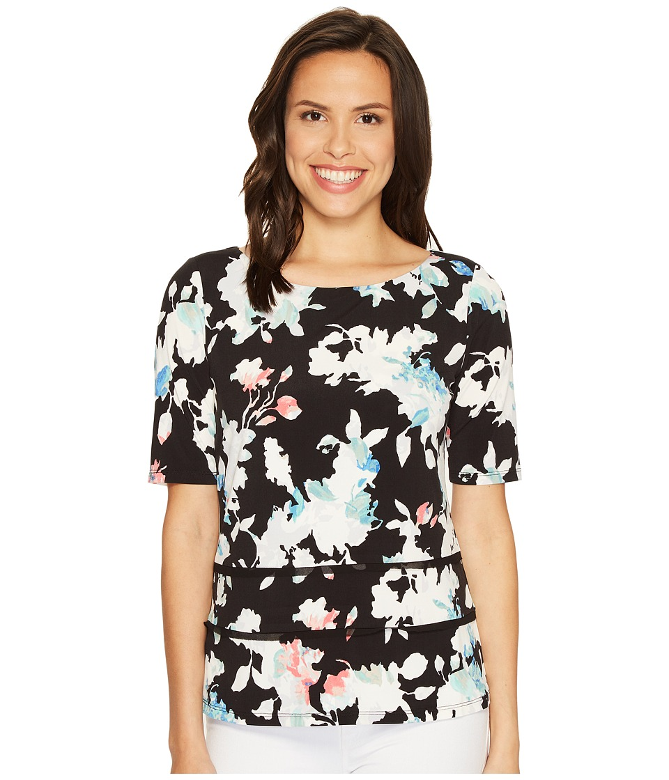 Ellen Tracy - Double Hem Tee (Floral Multi) Women's T Shirt