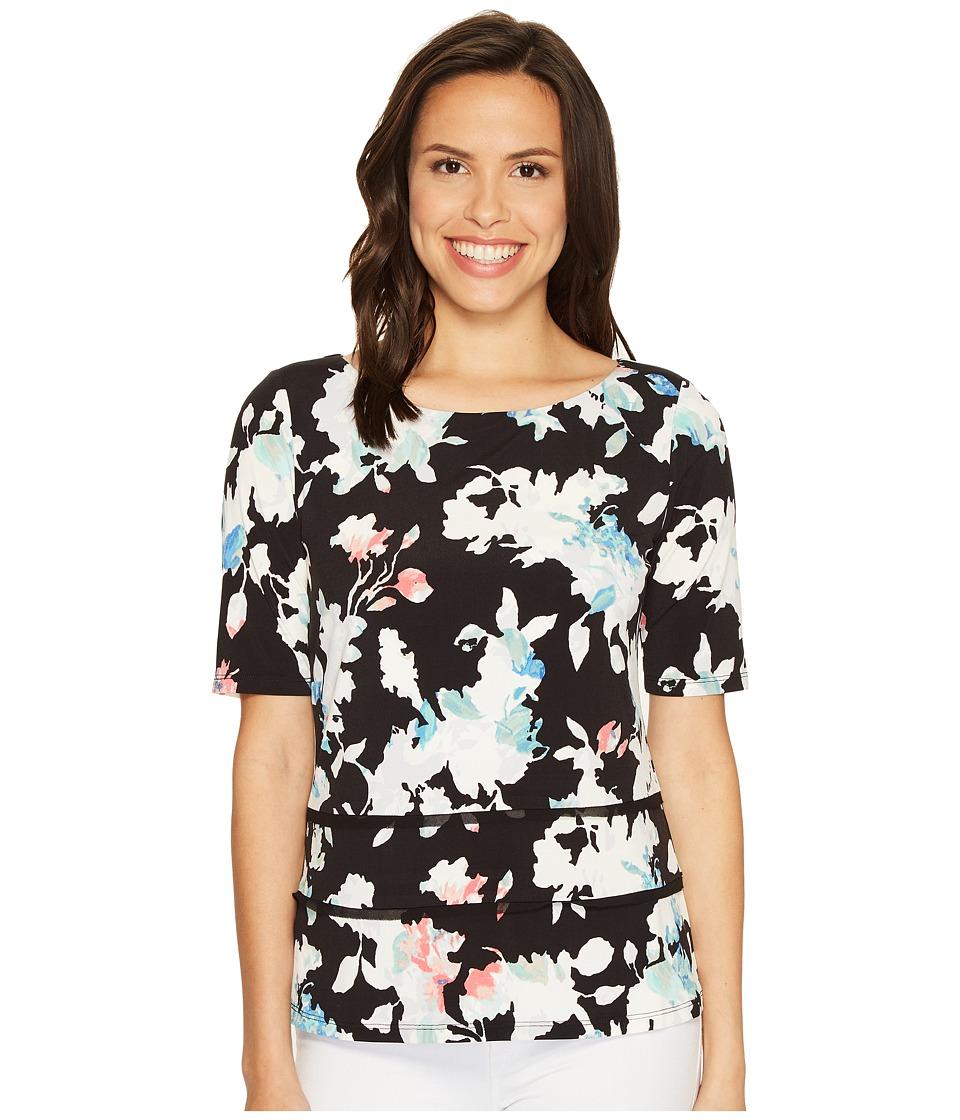 Ellen Tracy - Double Hem Tee (Floral Multi) Women's T Shirt