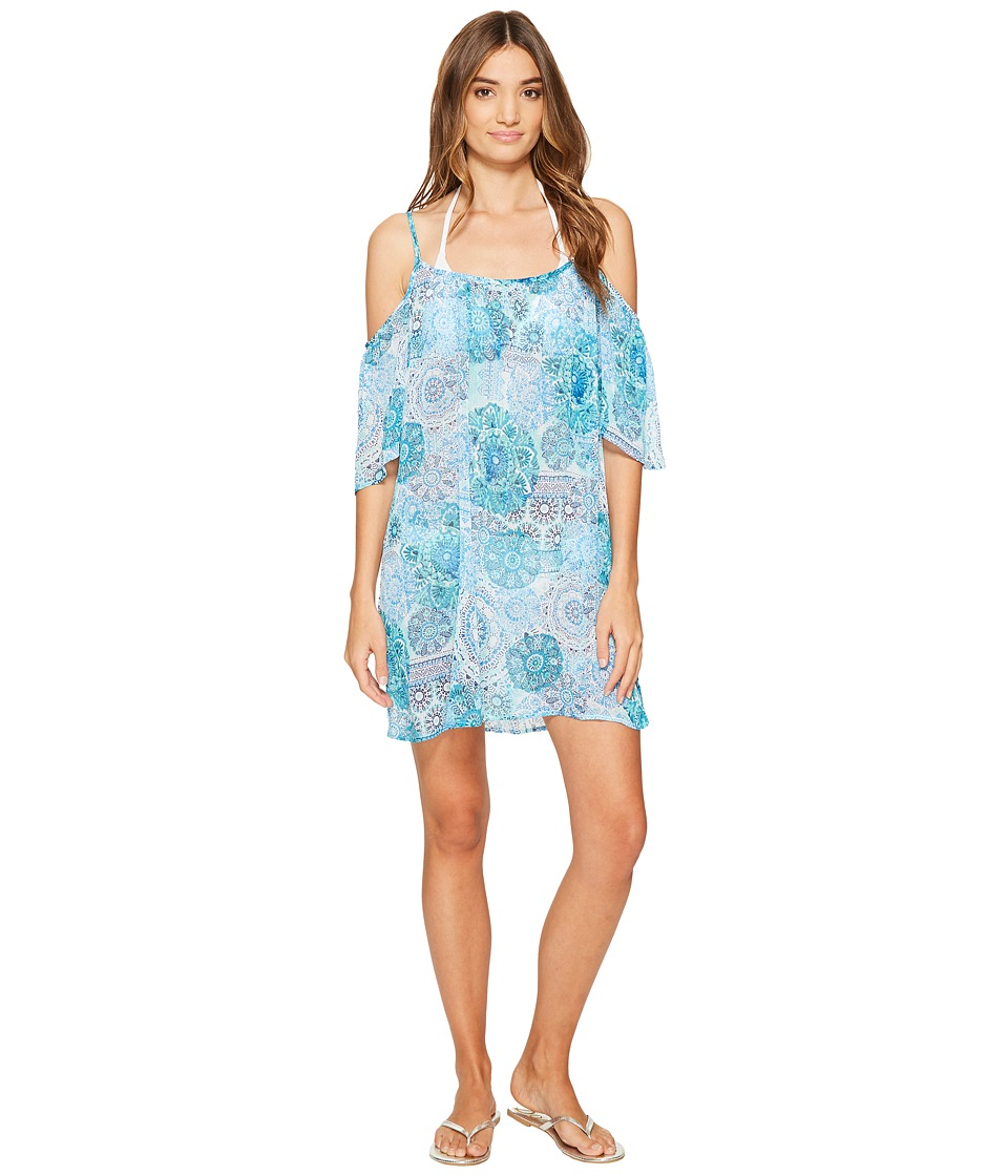 Bleu Rod Beattie - Soak Up The Sun Cold Shoulder Dress Cover-Up (Bleu Lagoon) Women's Swimwear