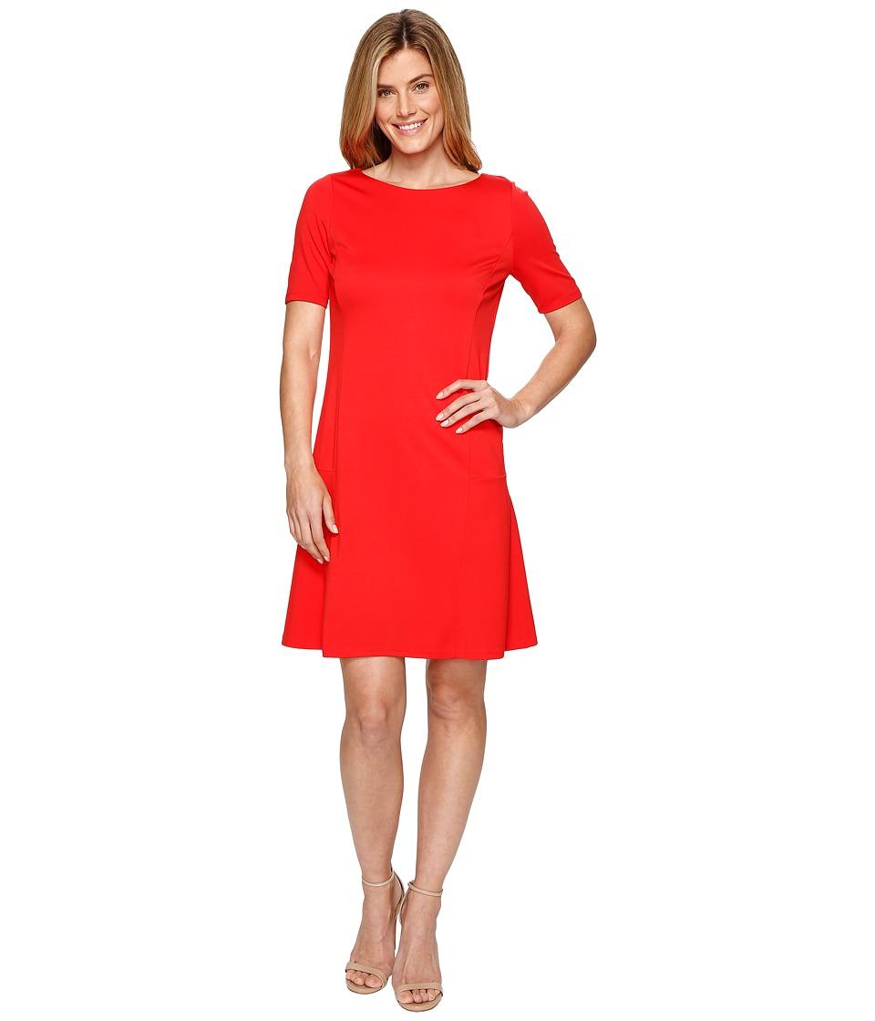 Ellen Tracy Elbow Sleeve Flounce Dress (Tomato Red) Women