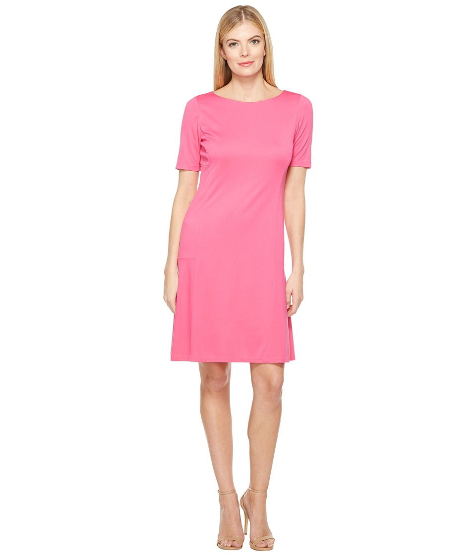 Ellen Tracy - Elbow Sleeve Flounce Dress (Pink Tulip) Women's Dress