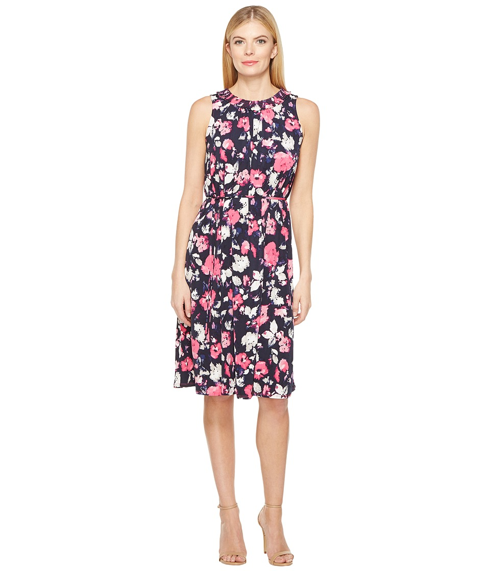 Ellen Tracy - Smocked Self-Tie Dress (Artisan Floral Tulip) Women's Dress