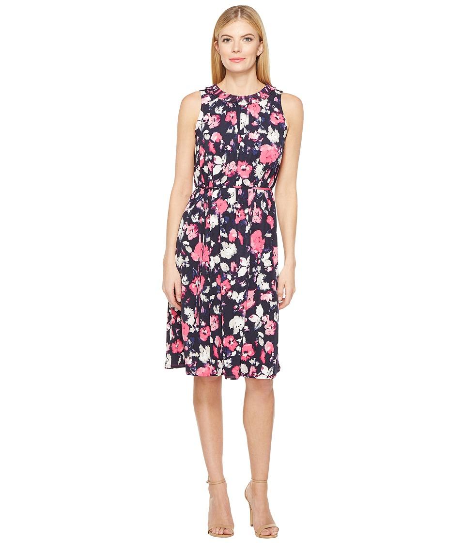 Ellen Tracy - Smocked Self-Tie Dress (Artisan Floral Tulip) Women's Dress
