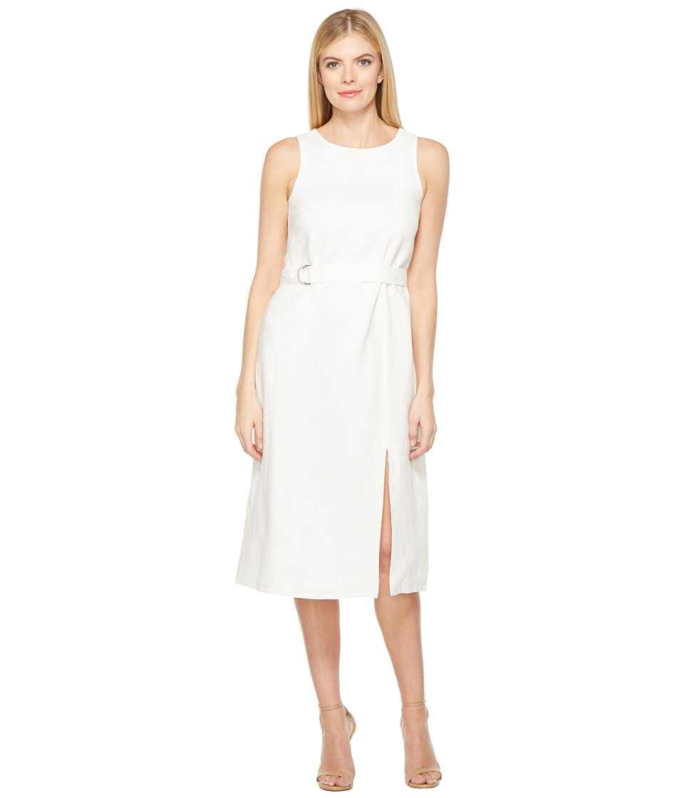 Ellen Tracy - Belted Column Dress (White) Women's Dress