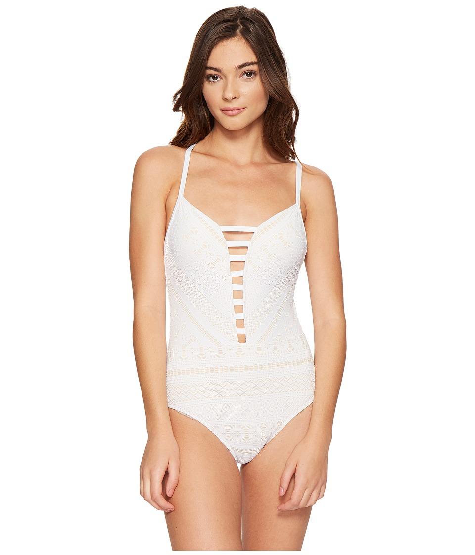 Bleu Rod Beattie - Sneak Peek Plunge Halter Mio One-Piece (White) Women's Swimsuits One Piece