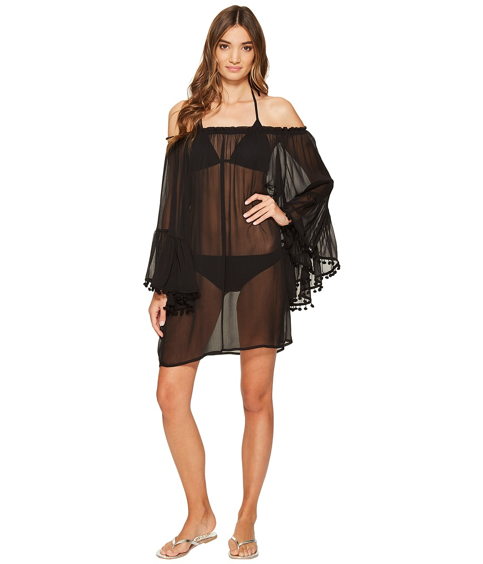 Bleu Rod Beattie Gypset Off the Shoulder Peasant Sleeve Dress Cover-Up (Black) Women