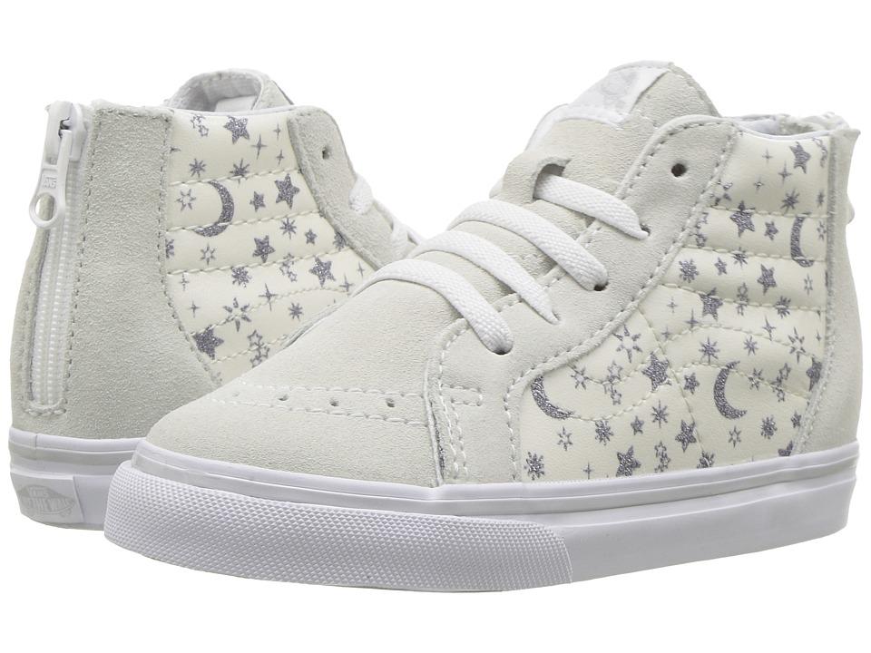 Vans Kids SK8 Hi-Zip (Toddler) ((Star Glitter) White) Girls Shoes