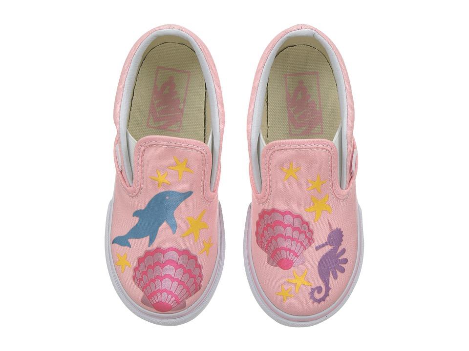 Vans Kids - Classic Slip-On (Toddler) ((Mermaid) Pink/Metallic) Girls Shoes