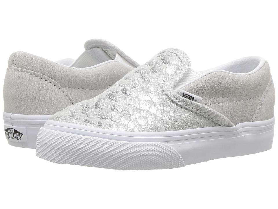 Vans Kids Classic Slip-On (Toddler) ((Metallic Snake) Silver/True White) Girls Shoes