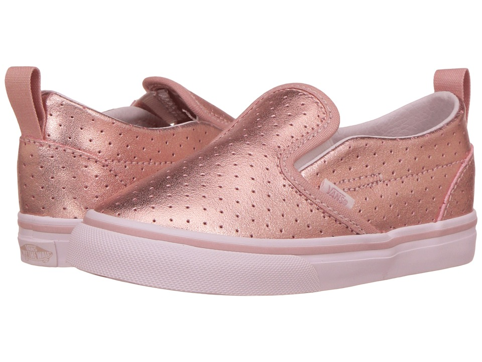 Vans Kids Slip-On V (Toddler) ((Perf Leather) Rose Gold) Girls Shoes