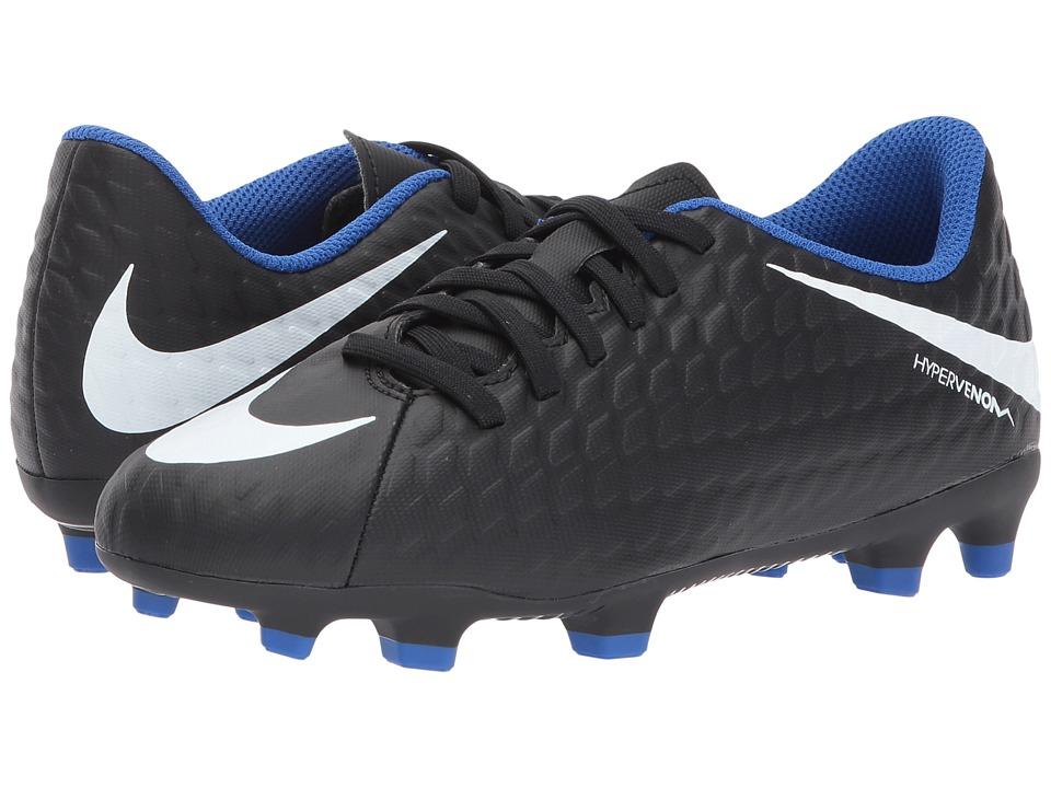 Nike Kids Hypervenom Phade III FG Soccer (Little Kid/Big Kid) (Black/White/Game Royal) Kids Shoes